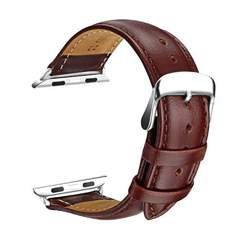 L'Apple Watch Bracelet, SOWTECH(TM) 42mm Montre Bracelet en Cuir Veritable Remplacement Bande en Mode Boucle avec Fermoir en Métal Ajustable pour l'Apple Watch Montre Tous les Modèles(42mm-Brun)