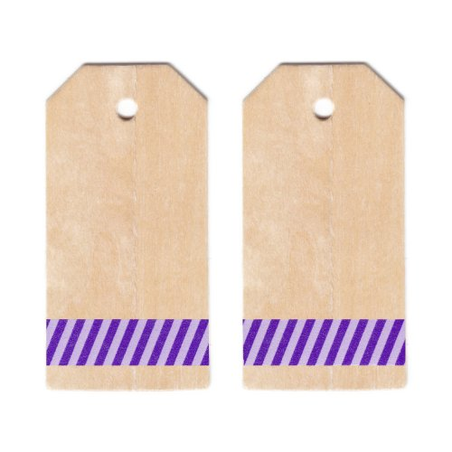 Dress My Cupcake Classic Wooden Gift and Favors Tags DIY Kit, Circus Stripes, Purple