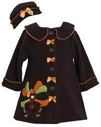 Bonnie Jean Girls Turkey Thanksgiving Fall Winter Coat & Hat, Brown, Size 4T