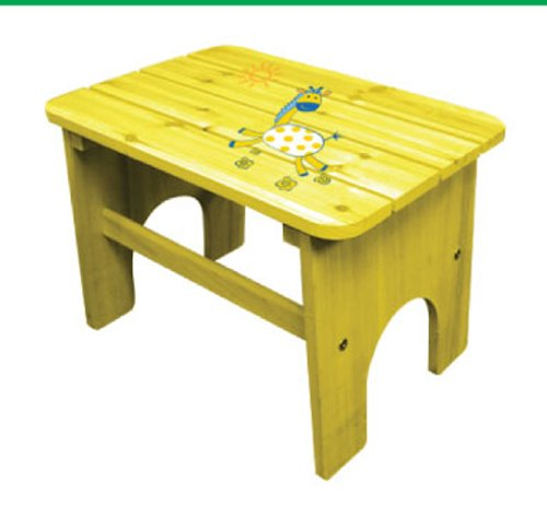 Lohasrus Kids Patio End Table CC-14010 - non-toxic Yellow painted with lovely giraffe, for ages 2 to 5, Plus Free Drawing Book
