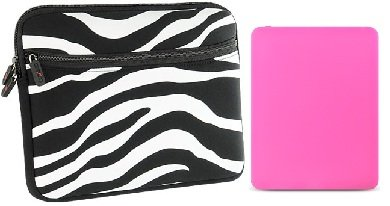 -- Combo Deal -- ZEBRA Safari Black and White EXOTIC Sleeve + HOT PINK Skin Bumper for Apple iPad {+ 1pc name tag} -- Best Deal on Amazon!