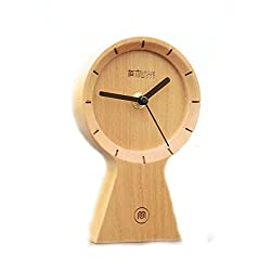 Umoo Original Non-Ticking Silent Creative Classic Sunny Clock Wood Desk Clocks Bedroom Bedside Ornaments with Gift Boxes