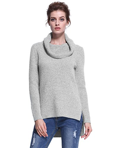 PrettyGuide Women Casual Drape Cowl Neck Slit High-Low Hem Pullover Sweater Tops Gray M (Gray Cowl Neck Sweater compare prices)
