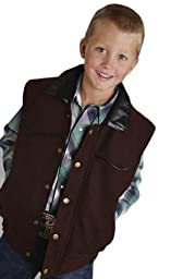 Boy Wool Vest With Faux Leather Accents Roper Boys Vest (xs) 03-094-0545-0200BR