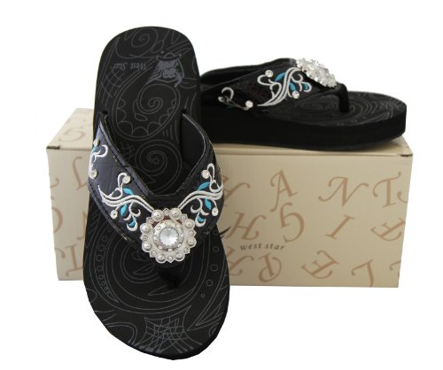 Fighting Elephants Ladies Flip Flops Embroidery Rhinestones Flower Concho Black, 9 M Us front-40623