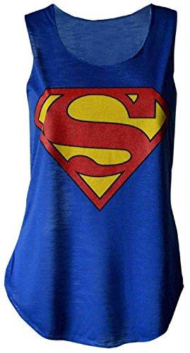 NUOVA DONNA CON LOGO DI SUPERMAN, CANOTTIERA SOTTILE, GILÈ DA DONNA, IN MAGLIA, CON LOGO DI SUPERMAN, MISURA 8-14 Blu blu