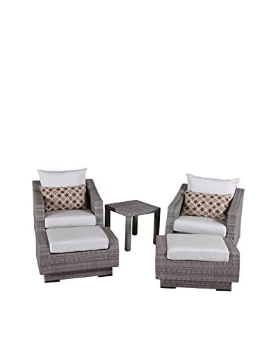 RST Brands Cannes 5-Piece Club Chair and Ottoman Set, Cream