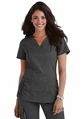 Beyond Scrubs Women's Ellie V-Neck Scrub Top M Pewter