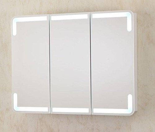 Specchiera con Led Specchio Contenitore da 96x74hx15 bianco con anta