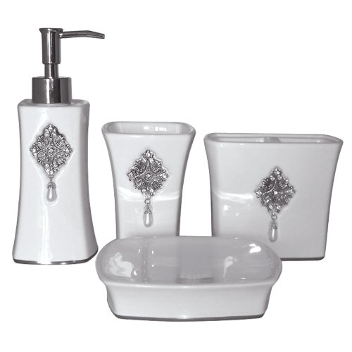 Famous Home Fashions Jewel White 4-Piece Boutique Set
