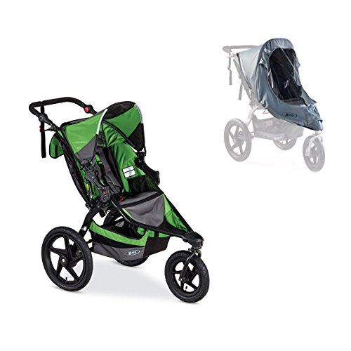 Bob Revolution Flex Single Stroller In Wilderness/ Black With Weather Shield front-68069