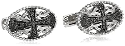 Men's Sterling Silver Black Diamond Cross Cuff Links (1/10 cttw)