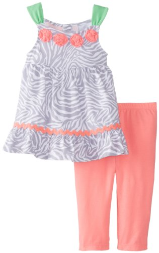Kids Headquarters Baby-Girls Infant Zebra Print Tunic With Legging, Gray, 12 Months front-1013509