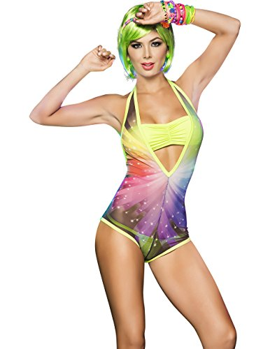Glow In The Dark Blacklight Reactive Starlight Romper Set, Medium