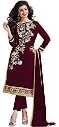 M Fab Ethnic Embroidered Chocolate Chanderi Cotton Free Size Straight Salwar Suit Dupatta UnStitched Party Wear Dress Material