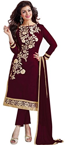 M-Fab-Ethnic-Embroidered-Chocolate-Chanderi-Cotton-Free-Size-Straight-Salwar-Suit-Dupatta-UnStitched-Party-Wear-Dress-Material