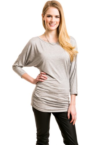 Ruched Mid Length Top In Grey