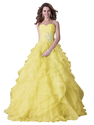 Grace Karin® Yellow Organza Strapless Prom Dresses Ball Gown with Ruffles (16)