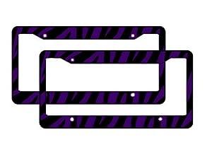 A Set of 2 Plastic License Plate Frame Safari Animal Series - Zebra Purple and Black