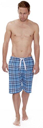 Herren 100% Pyjama Bett Shorts Lang Flanell Gebundener Bund Sky / Marineblau