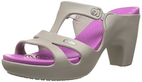 crocs Women's Cyprus V Heel W Dress Sandal, Platinum/Wild Orchid, 7 B(M) US (Platinum Heels For Women compare prices)