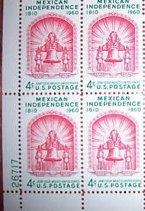 #1157 - 1960 4c Mexican Independence Postage Stamp Numbered Plate Block (4)