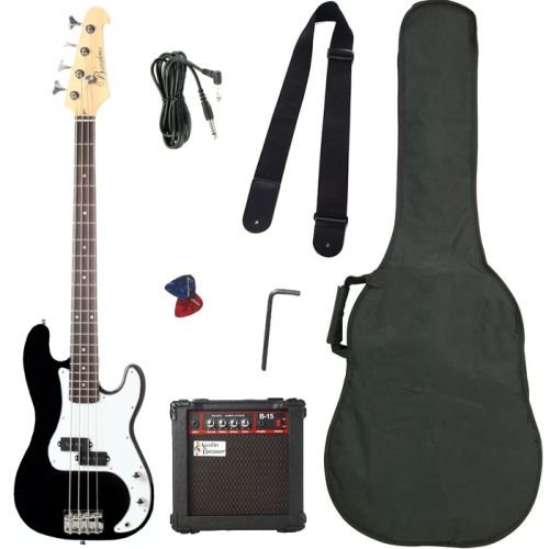 Barcelona Beginner Series Electric Bass Guitar with Bass Amplifier, Gig Bag, Instrument Cable, Strap, Picks, and Polishing Cloth – Black
