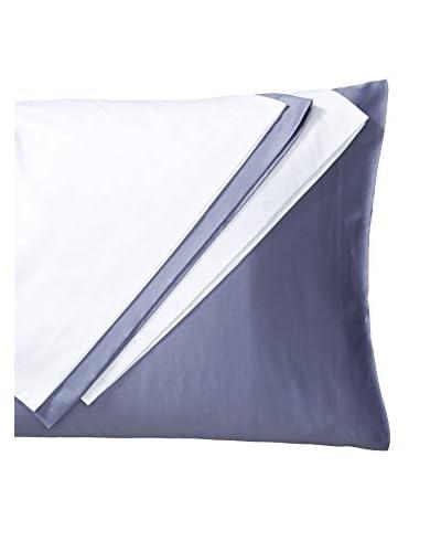 Silverline Set of 4 Standard Cotton Sateen Standard Pillowcases, White/Blue Grey
