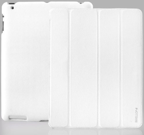 INVELLOP WHITE Leatherette Cover Case for iPad 2 / iPad 3 / The New iPad (Built-in magnet for sleep/wake feature)