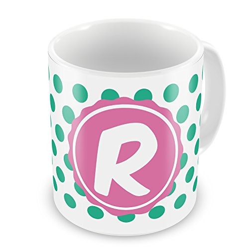 Coffee Mug Monogram R White Green Polka Dots - Neonblond