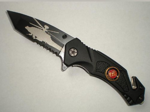 Black U.S. Marines Spring Assist Rescue Pocket Knife Helicopter Tanto Blade With Glass Breaker & Seat Belt Cutter