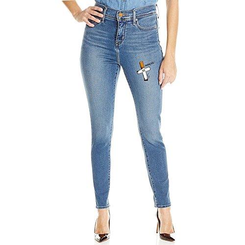 Women Light Blue Smoking Kills Skull Super Skinny Jeans X-Large (Smoke Smart Electronic Cigarette compare prices)
