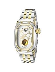 Glam Rock Women's GR72002 Monogram White Enamel Dial Two Tone Stainless Steel Watch