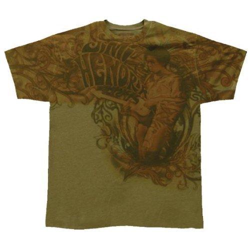 Old Glory Mens Jimi Hendrix - Scrollwork Jam Soft T-Shirt - Small Green