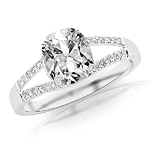 1.35 Carat Curving Split Shank Diamond Engagement Ring w/ Cushion Cut Center (J Color SI1 Clarity)