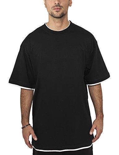 Urban Classics - Bekleidung Contrast Tall Tee, Maglia a maniche lunghe Uomo, Multicolore (Black/White), XXXX-Large (Taglia Produttore: XXXX-Large)