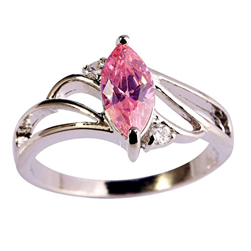 Psiroy 925 Sterling Silver Stunning Created Gorgeous Women's 5mm*9mm Marquise Cut CZ Pink Topaz Filled Ring