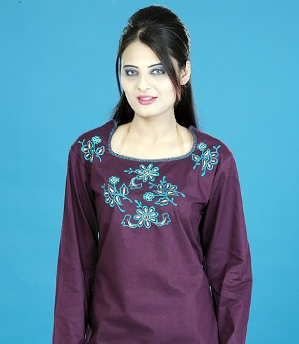 scoop neck silk cotton embroidered work ladies/ womens  tops / tunics / kurta kurti / dresses