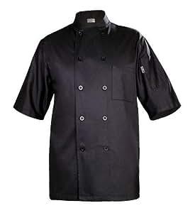 Chef Works BLSS Chambery Short Sleeve Basic Chef Coat, Black, Large