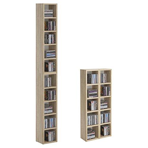 CD-DVD-Regal-Stnder-Aufbewahrung-CHART-in-Sonoma-Eiche-mit-10-Fchern-fr-bis-zu-160-CDs-20x1865-cm-Breite-x-Hhe