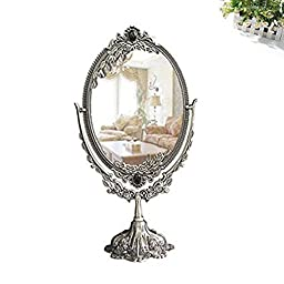 Antique Two Sided Swivel Oval Desktop Vanity Makeup Mirror with Embossed Roses and Mounted Beads for Home, Jewelry or Watches Cosmetics Showcase (L, Antique)