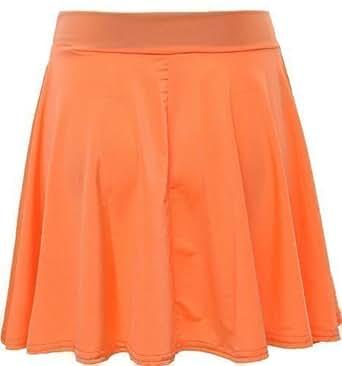 Womens Ladies Skater Flared Jersey Plain Mini Funky Hot Club Party Dress Skirt (UK 12, Neon Orange)