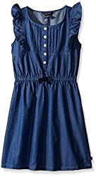 Nautica Girls' Chambray Dress with Flutter Sleeve, Chambray, 6X