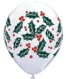 【クリスマスバルーン】チャーミィパック 28cmホーリー&ベリーズ ホワイト・4個入り(5パック)  / お楽しみグッズ(紙風船)付きセット