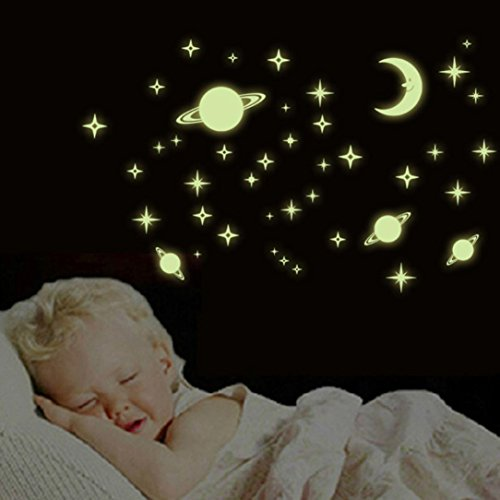 GBSELL Star Moon Luminous Stickers Living Room Bedroom Decoration Wall Stickers (E)