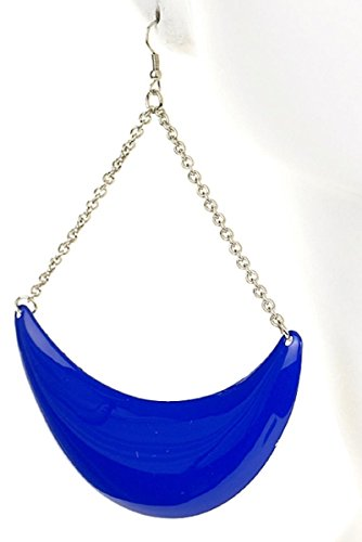 Smooth Polished Bright Hanging Crescent Dangle Earrings - Cobalt Blue