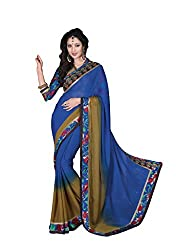Vishal Blue & Coffee Chiffon Saree with blouse piece