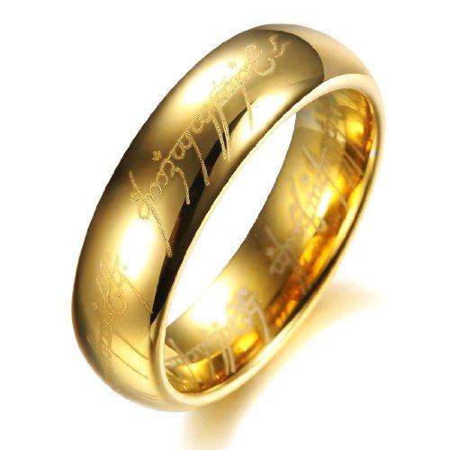 COPAUL puro carburo di tungsteno Argento Signore Degli Anelli con la bibbia incisi uomini anello Matrimonio Gruppo musicale,Dimensione20