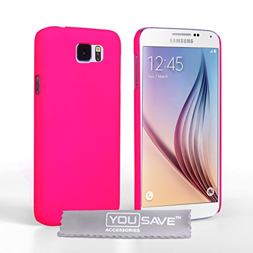Yousave Accessories Samsung Galaxy S6 Case Hot Pink Hard Hybrid Cover