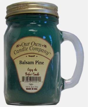 Balsam Pine 13 oz Mason Jar Candle (Our Own Candle Company Brand) Made in USA - 100 hr burn time